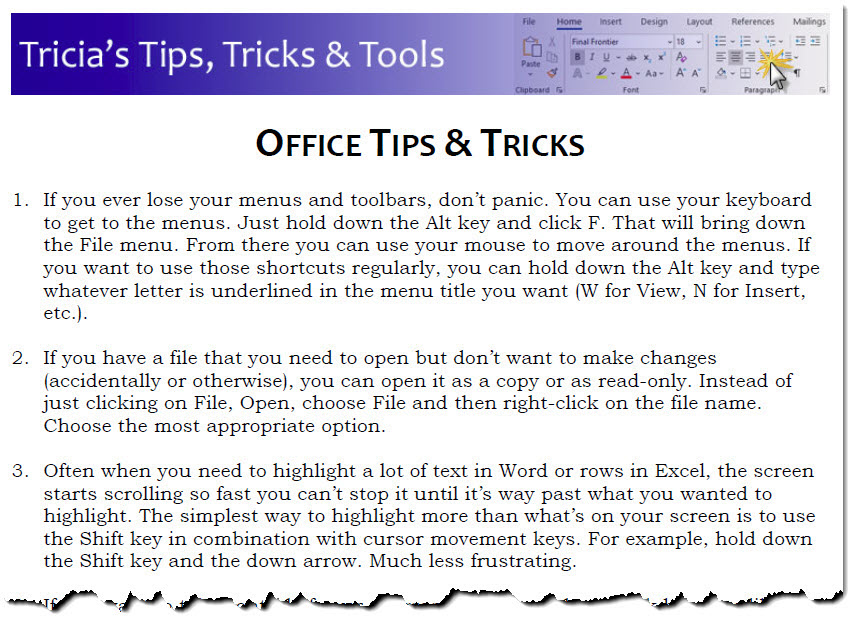 Tricias Office Tips